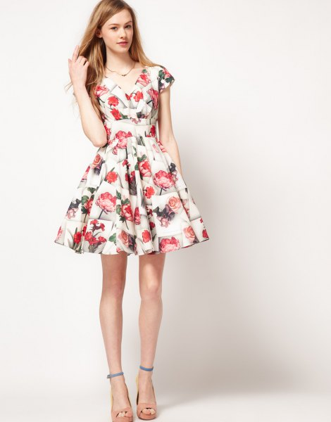 white and red fit and flare mini dress