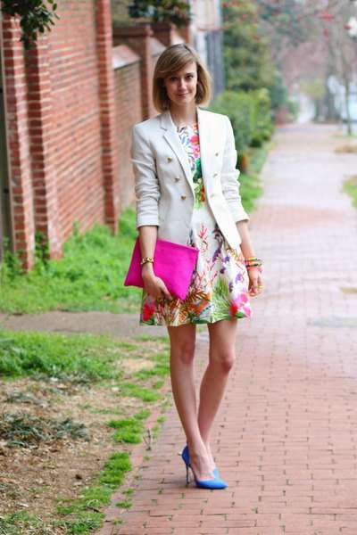 floral skater dress white blazer