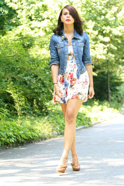 white floral skater dress denim jacket