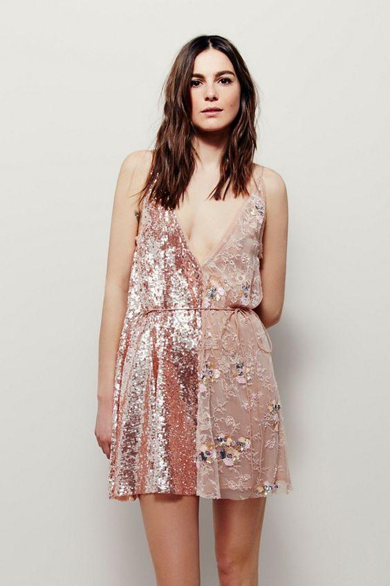 pink sequin dress half