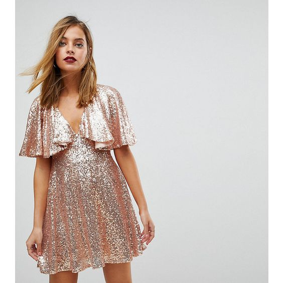pink sequin dress flute sleeves