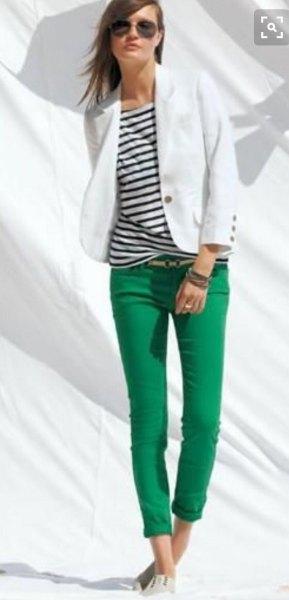 black and white striped tee blazer