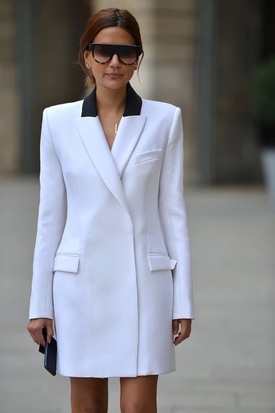 white blazer dress two shades