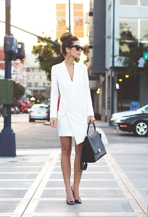 white blazer dress asymmetrical