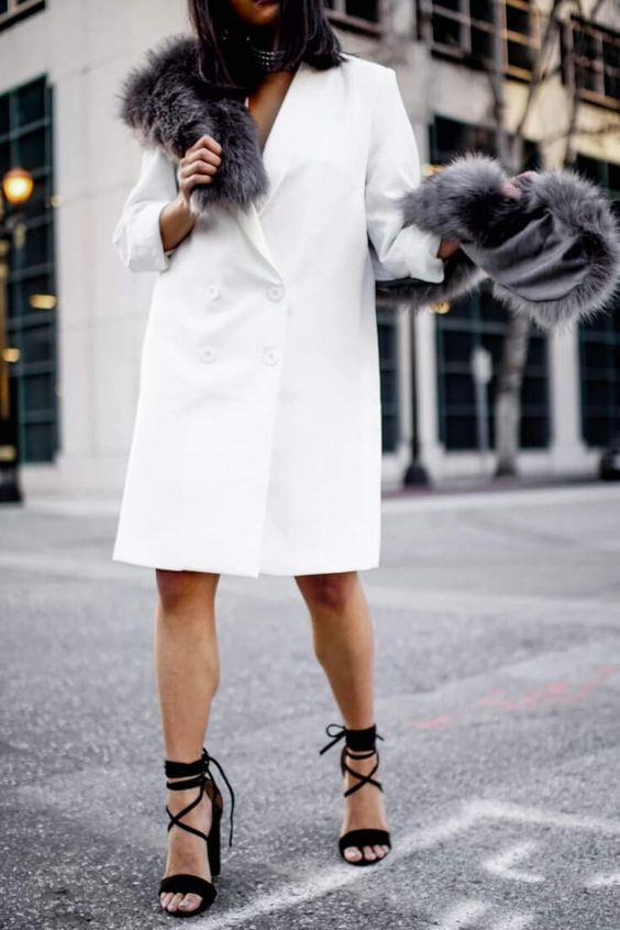 white blazer dress details