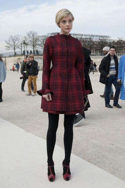 red checkered flare mini dress black leggings heels