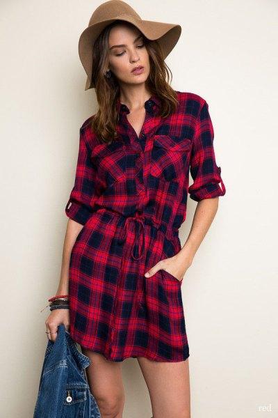 red checkered tie waist shirt dress floppy hat