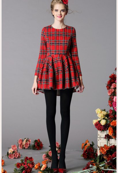 red and black checkered fit and flare dress