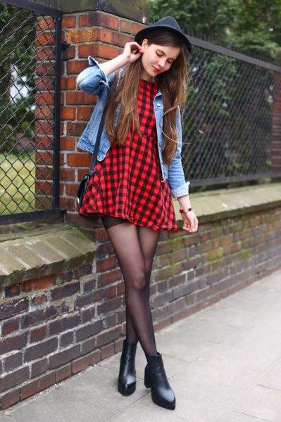 black and red checkered skater dress denim jacket felt hat