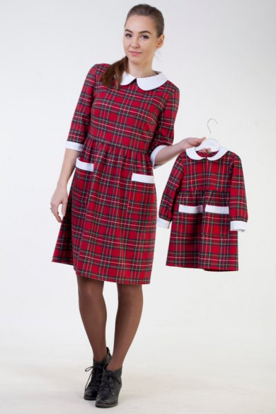white collar red checkered collar waist knee length dress