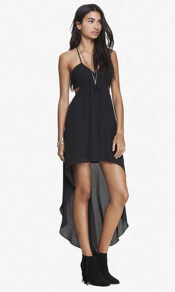 black spaghetti strap side cut high low dress