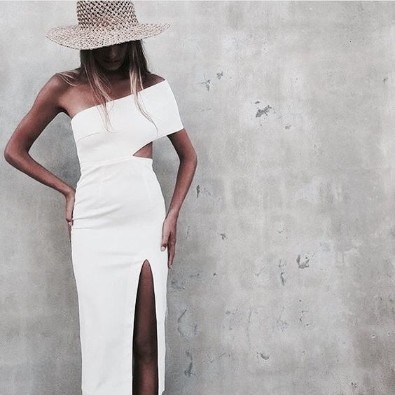 white cut out dress sliced