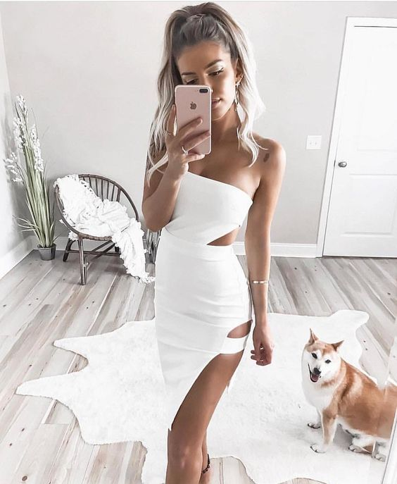white cut out dress goddess