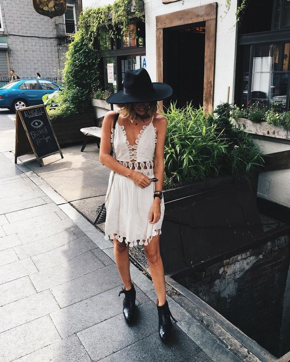 white cut out dress boho
