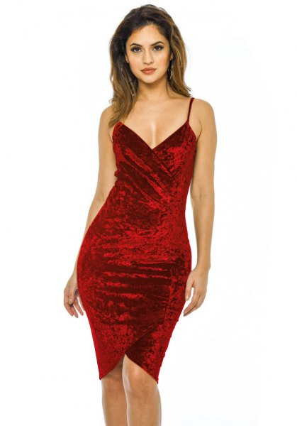 red spaghetti strap deep v-neck velvet bodycon dress
