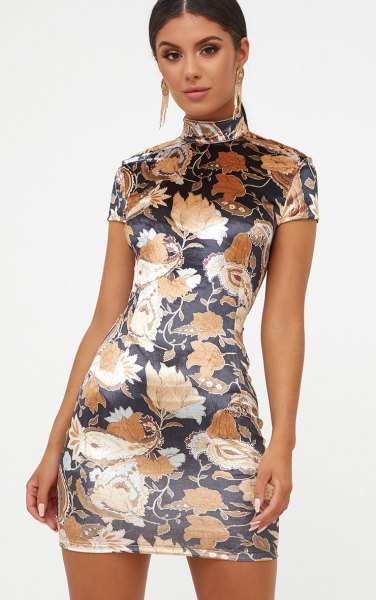 black floral bodycon high neck dress