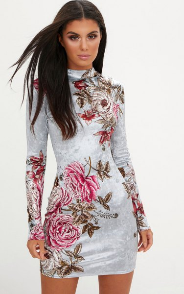 white long-sleeved floral velvet bodycon dress
