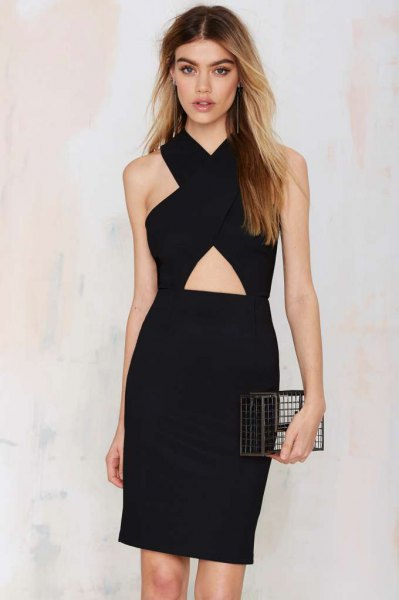 dress in black waist with cut-out at the waist