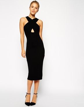 black criss cross midi dress with cutout