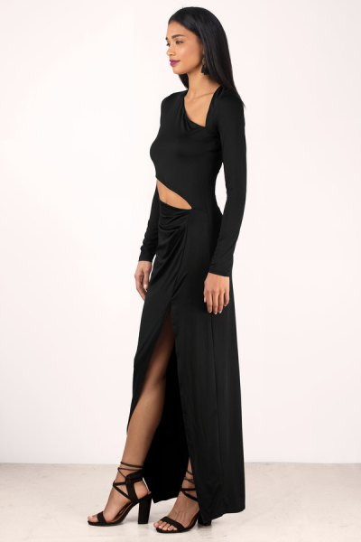 asymmetrical high split maxi dress