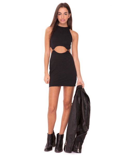 black bodycon cutout mini dress clothing jacket
