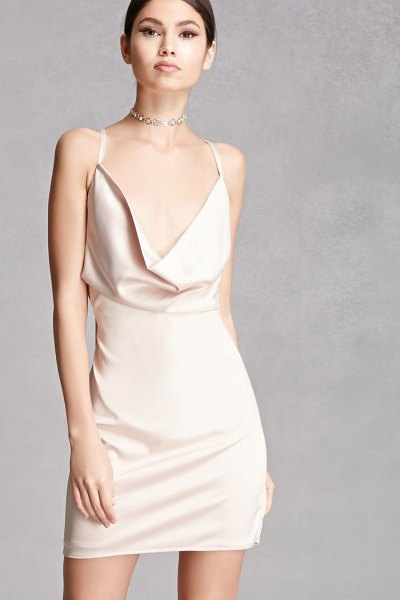 white blazer neck satin bodycon dress