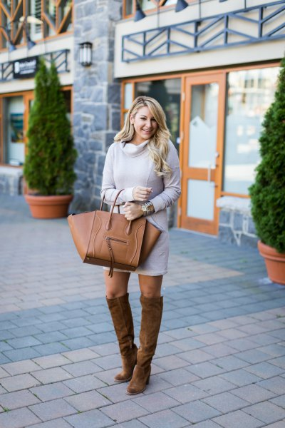 gray sweater dress suede high boots