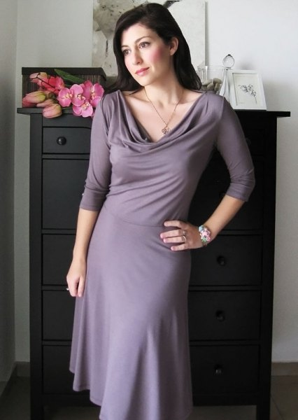 gray cabbage neck fit and flare dress