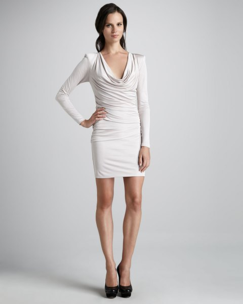 white long sleeve cowlace bodycon dress