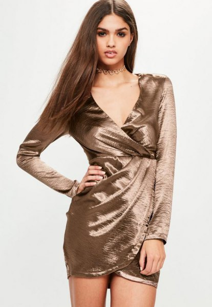 pink gold long sleeve dress with satin wrap