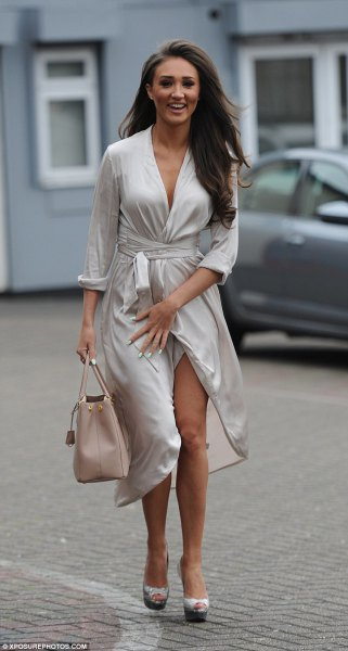 Silver plastic midi dress slams