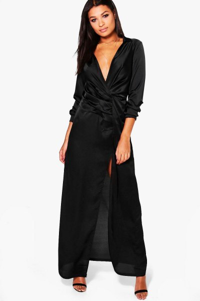 black maxi deep v-neck satin wrap dress