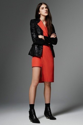 red tuxedo dress black leather jacket