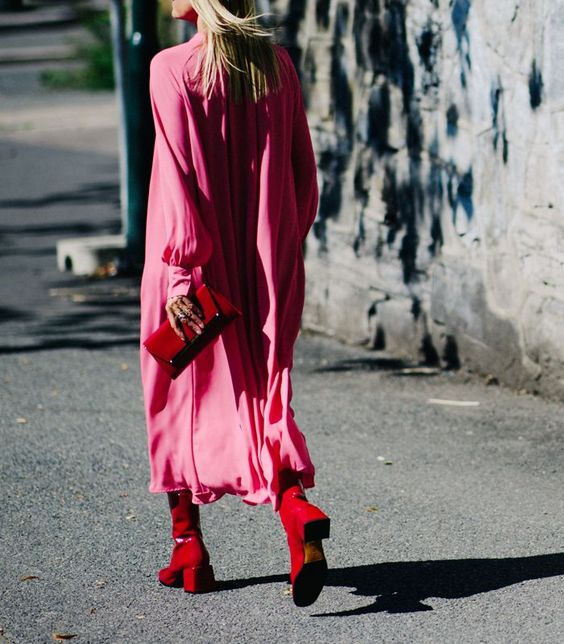 pink satin dress red boots