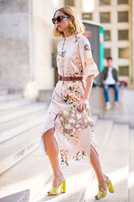 pink satin dress floral print