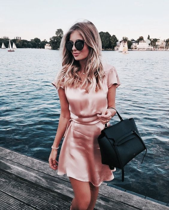 pink satin dress mini