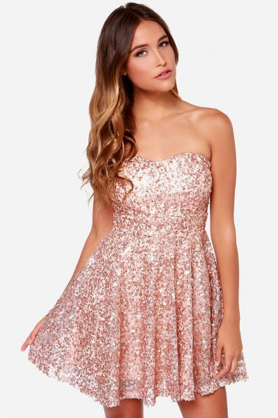 strapless pink gold sequin skater dress