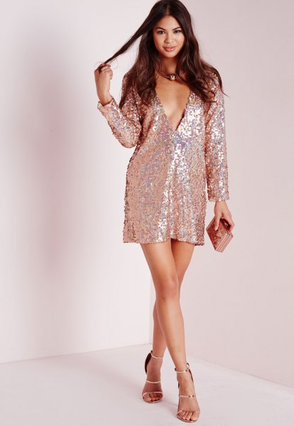 pink gold deep v-neck change