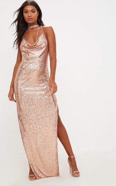 gold sequin maxi dress choker necklace