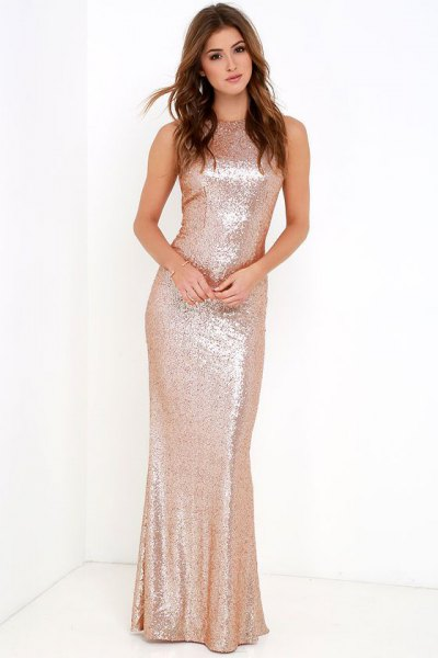pink gold sequin mermaid dress