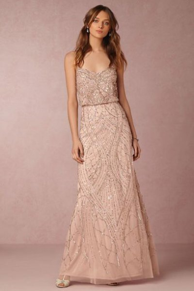 spaghetti strap pink gold gathered midi dress