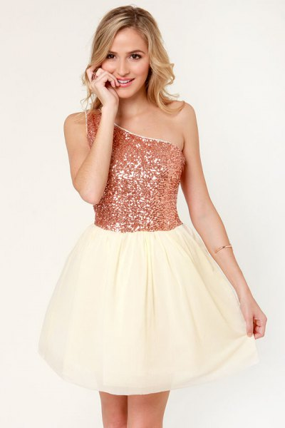 one shoulder two toned gold skater dress