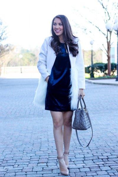 blue velvet shirt dress white faux fur