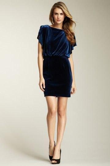 blue fluttering sleeve gathered waist dress