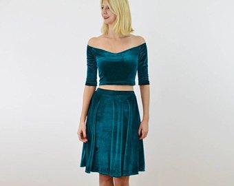 two piece blue knee length dress