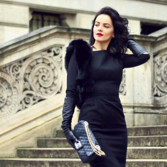 long black gloves small black dress