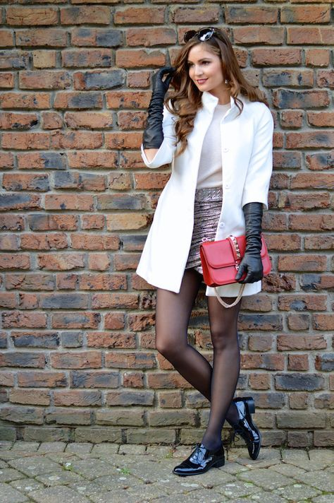 long black gloves white coat