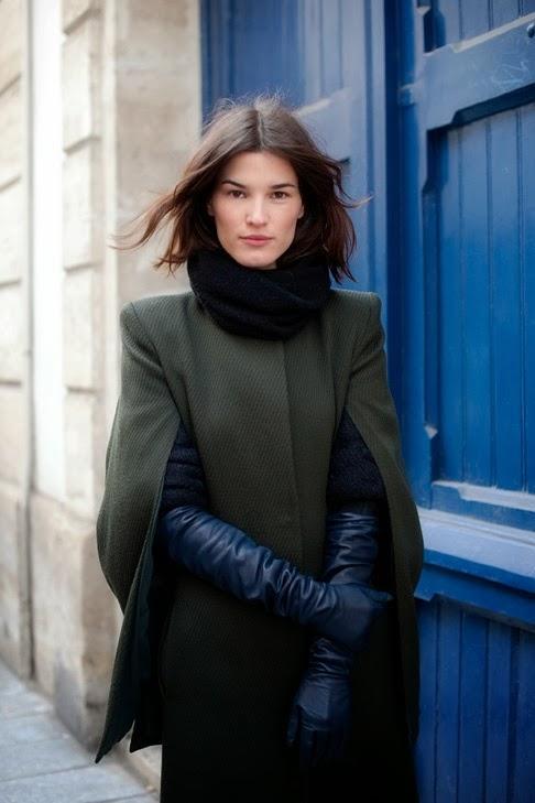 long black gloves olive green cape