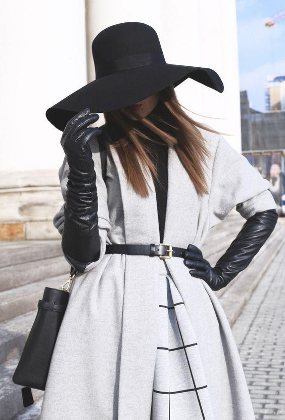 long black gloves gray coat