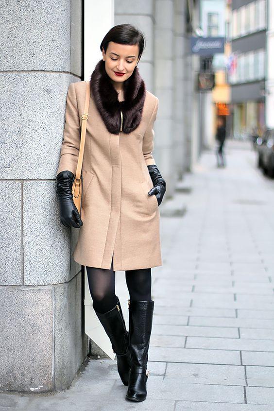 long black camel skirt gloves